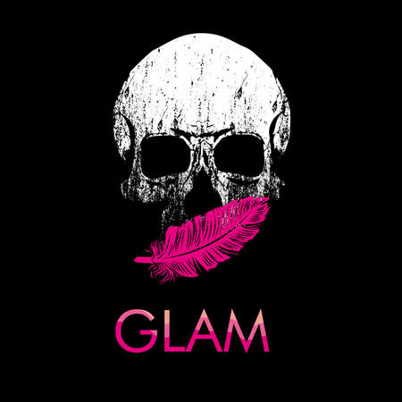 Glam. Skull vector drawing with pink feather isolated on black for t-shirts or posters Illustration