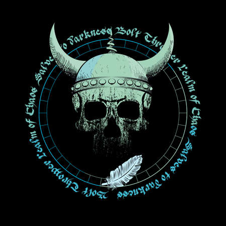 T-shirt vector design of a viking skull with horns over an inverted star and handwritten characters isolated on black. Poster Illustration