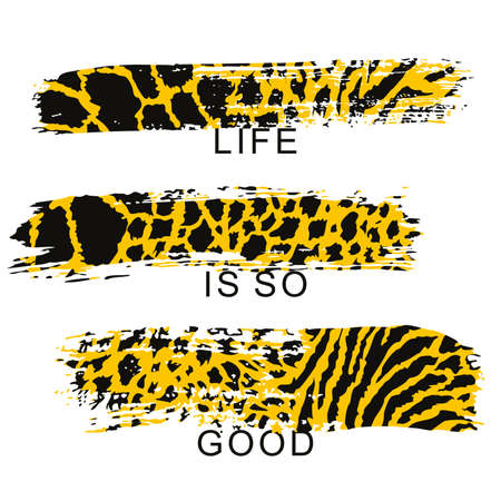 vector illustration of three brush strokes with animal print on white background. Design for t-shirts. Illustration