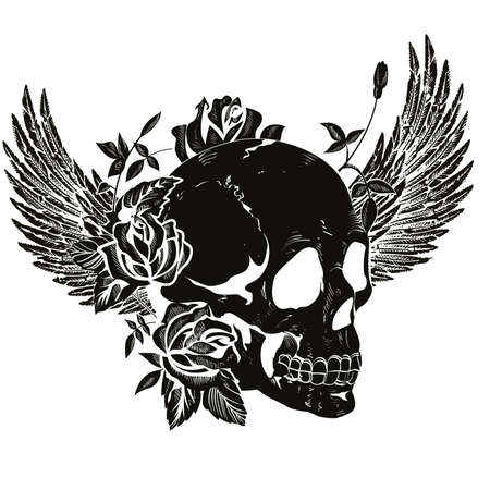 Vector design for t-shirt of a black skull with wings and roses isolated on white