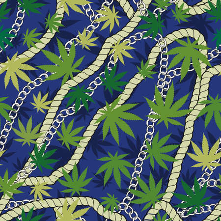 continuous design with golden rope, chains and cannabis leaves.