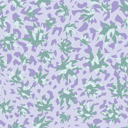 Pattern seamless of cannabis leaves and purple shapes. Vector design for textile industry. Illustration