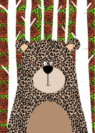 Vector illustration of a cute bear with animal print. Design for children's poster. Illustration