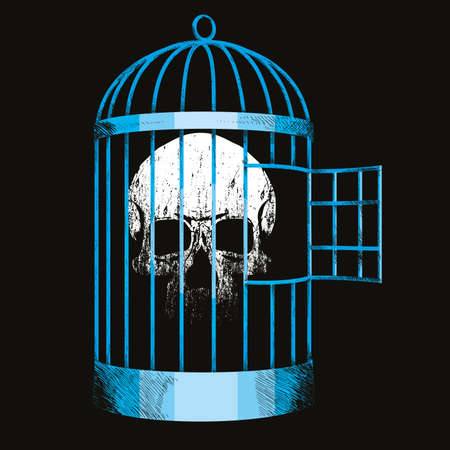 vector illustration of a skull locked in a bird cage. Design for t-shirts or stickers.