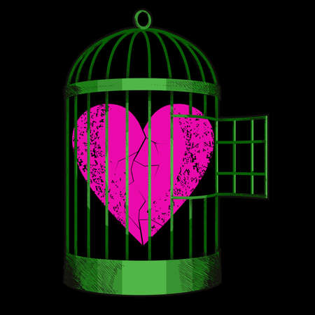 vector illustration of a red heart inside a bird cage. Design for Valentine's Day posters or stickers