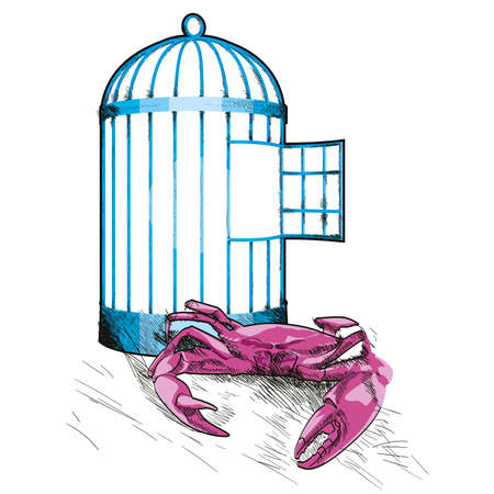 vector illustration of an empty cage and a crab on white background. Design for t-shirts or stickers.