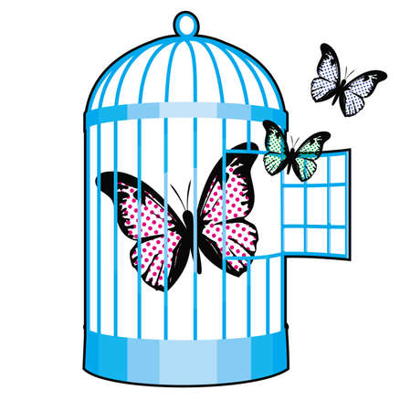vector illustration of a metal cage with butterflies. Design for t-shirts or stickers about freedom.