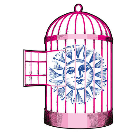 vector illustration of a cage containing the sun. Design for t-shirts or stickers.