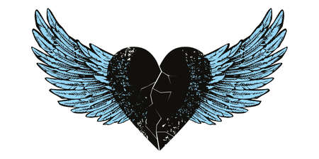 Vector design for t-shirt of a black heart with wings isolated on white. Illustration of a broken heart flying.