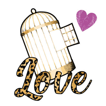vector illustration with the word Love with animal print, an open cage and a small heart. Design for t-shirts or stickers