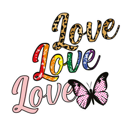T-shirt design with the word Love repeated three times. Vector text with animal print texture and gay pride colors.
