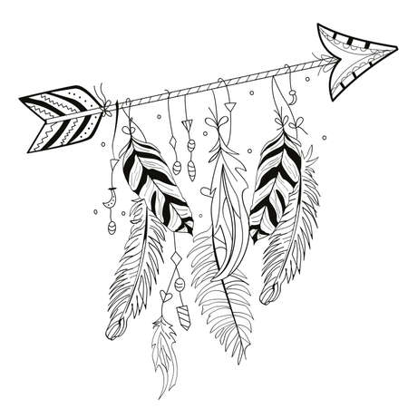 vector illustration of Indian arrow with feathers hanging on white background. design for t-shirts or stickers