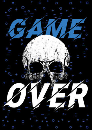 Game over. Vector illustration of a skull next to the phrase of the end of the game. Design for posters and stickers.