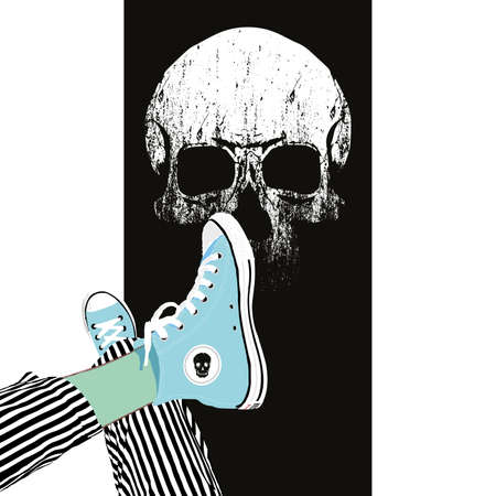 Vector illustration of sneakers in the foreground and a skull in the background.Design for t-shirts and posters of youth and adolescent culture.