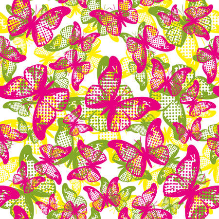 seamless pattern of butterflies of different sizes and colors. Design for the textile industry.