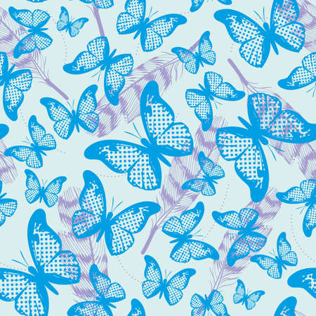 seamless pattern of butterflies nad feathers of different sizes and colors. Design for the textile industry.