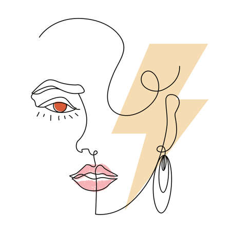 linear surreal portrait of a beautiful woman with the lightning bolt symbol. Design for posters, stickers or t-shirts with style of the eighties.