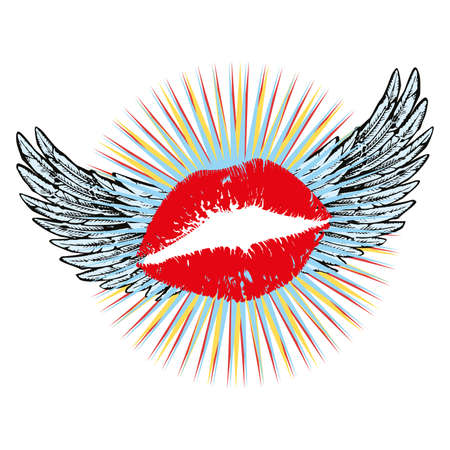 vector illustration of red lips with wings. Surreal design for t-shirts, posters or stickers. Illustration