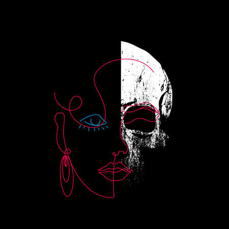 linear portrait of a woman with a skull face. Design for posters or stickers with aesthetics of the eighties Illustration