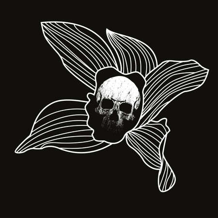 vector illustration of a flower with a skull in the center. Design for halloween t-shirts or posters.