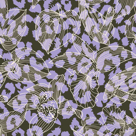 pattern design of leopard animal print and flowers vector. Design for textile industry.