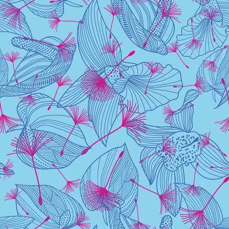 pattern seamless of various dandelion plants and flowers on light blue background. Design for textile industry