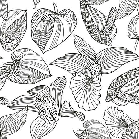 Monochrome floral pattern seamless. Vector illustration for textile industry.