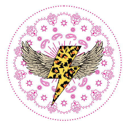 vector illustration of an animal print lightning whit wings and pink mandala isolated on white