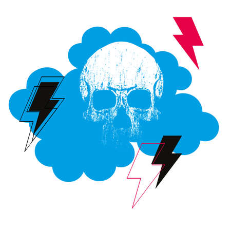 vector illustration of a celestial cloud with a skull and rays. Design for rock-themed t-shirts and posters. Illustration