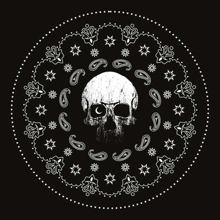 Skull vector drawing and white mandala isolated on black. Design for t-shirts or posters Illustration