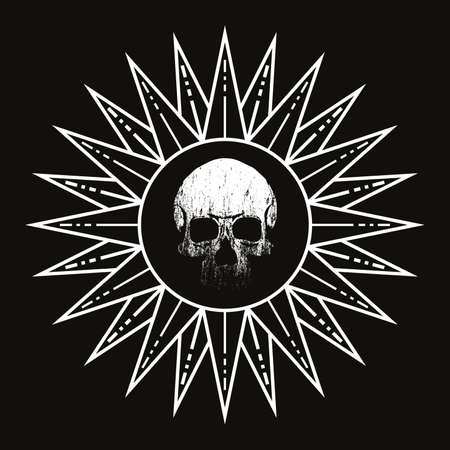 vector illustration of a sun with human skull on black background. Design for t-shirts or posters,