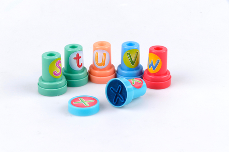 Favourite coloured stamps for children on a white background