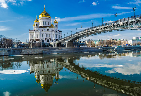 Cristh Savior orthodox cathedral reflected in moscow river, Moscow, Russia
