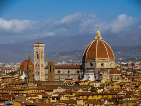 Florence Duomo cityscape with blue sky and some clouds, Florence, Tuscany, Italy Stock Photo