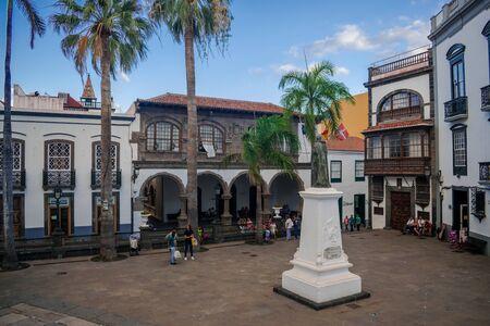 Santa Cruz de La Palma, Canary islands / Spain; 10 September 2018: Plaza Spain square with ancient houses Editorial