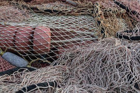 Fishinig net with buoys close view