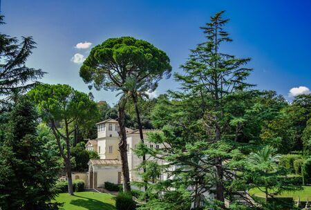 Vatican / Vatican City; September 8 2017: Casina Pio IV, patrician villa in Vatican Gardens, with blue sky