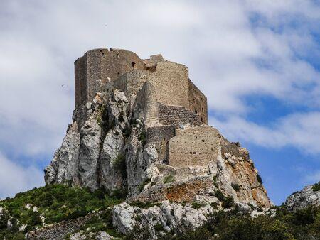 Cucugnan, Aude  France; May 25 2014: Ch?teau de Qu?ribus, ruined castle in the commune of Cucugnan, Aude, France
