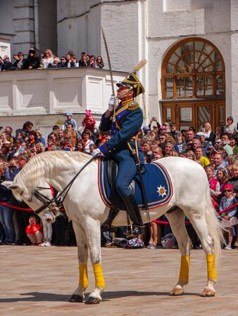 Moscow / Russia; May 27 2017: Kremlin Palace military cavalry exhibition, Moscow Russia