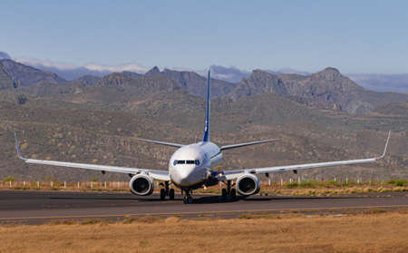 Los Rodeos, Tenerife / Canary islands; July 24 2020: Ryanair boeing 737-8AS, ready to take off, in La Laguna city airport Editorial