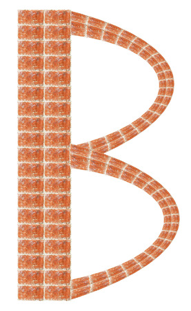 Alphabet made of red brick, Letter B Stock Photo