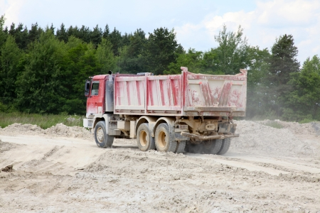 Freight trucks with dump body photo