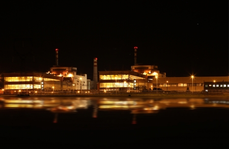 Nuclear power plant at night - Temelin, Czech Republic photo