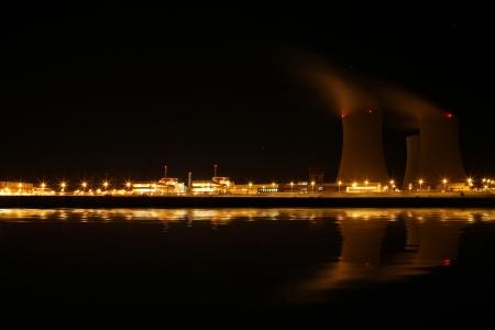 Nuclear power plant at night - Temelin, Czech Republic photo