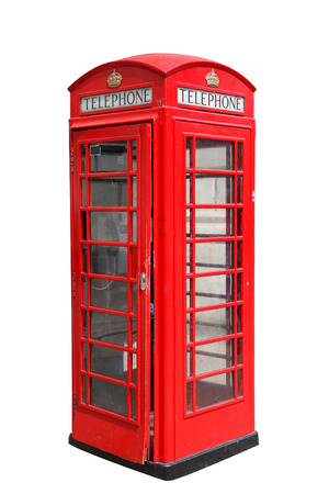 Classic British red phone booth in London UK, isolated on white Stock Photo - 25827577