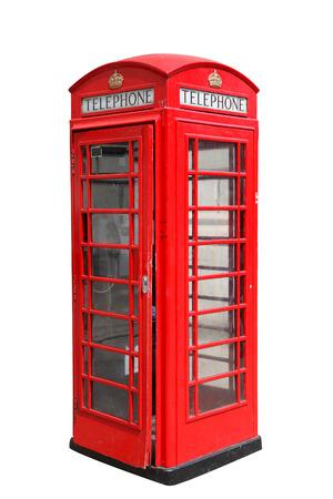 Klassieke Britse rode telefooncel in Londen Verenigd Koninkrijk, op wit wordt geïsoleerd