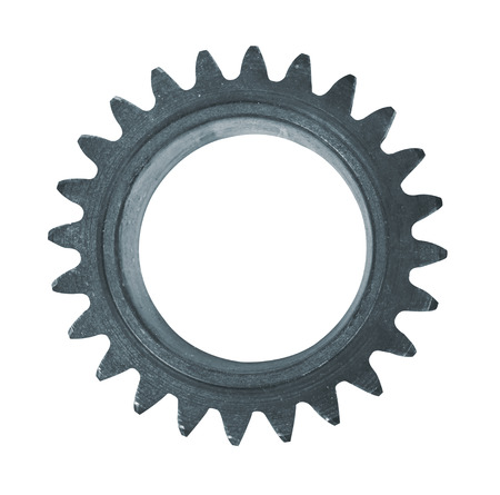 Steel cogwheel isolated on white background Imagens