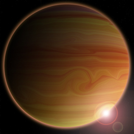 Unknown planet on a dark background, ilustration photo