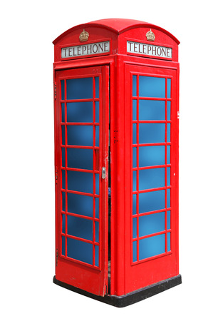 Classic British red phone booth in London UK, isolated on white photo