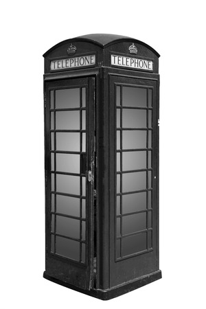 Classic British phone booth in London UK, isolated on white, black and white photo photo